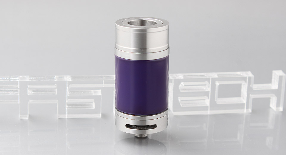 Tornado Styled RDTA Rebuildable Dripping Tank Atomizer 304 SS + Glass, Silver Purple (w/o drip tip) - B