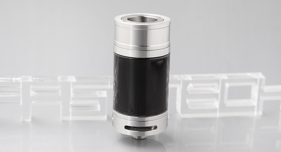 Tornado Styled RDTA Rebuildable Dripping Tank Atomizer 304 SS + Glass, Silver Black (w/o drip tip)