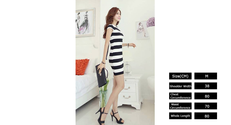 Image of Women Bowknot Backless Striped Bodycon Dress (Size M)
