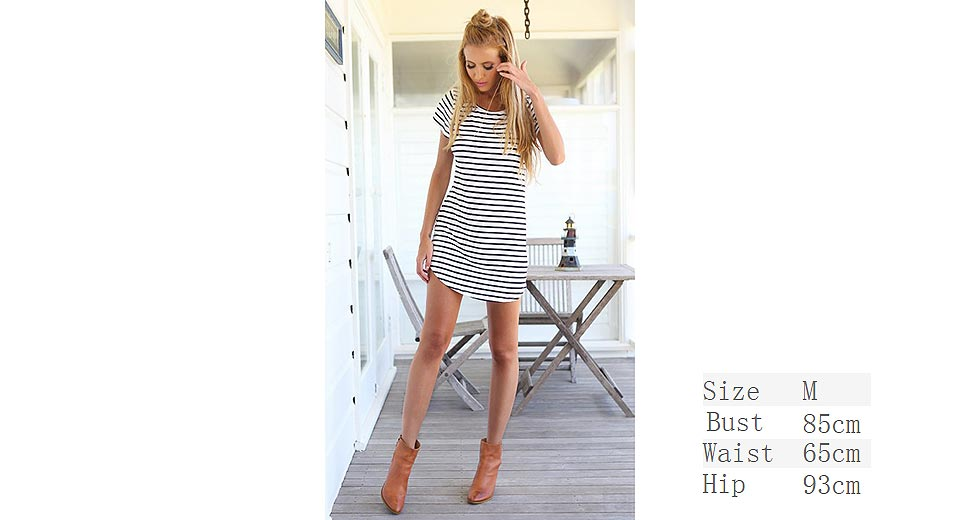 Image of Women Casual Short Sleeve Striped Loose T-Shirt Mini Dress (Size M)