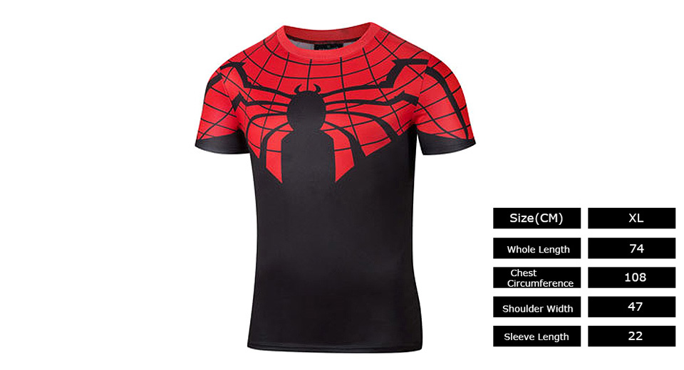 Men's Spiderman Logo Sports Quick-dry T-shirt (Size XL)