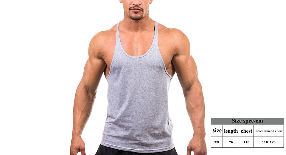 Image of Men's Bodybuilding Gym Sleeveless Sports Vest Tank Top (Size 2XL)