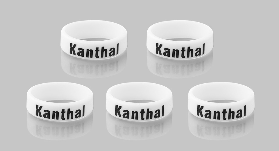 Silicone Anti-slip Ring for E-Cigarette Atomizers / Mods (5-Pack) 22mm, Kanthal Letter, White, 5-Pack