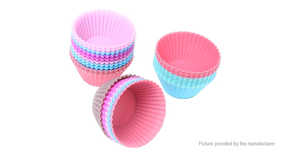 Reusable Silicone Baking Cup Cupcake Liner Muffin Cup (12 Pieces/Random Colors)