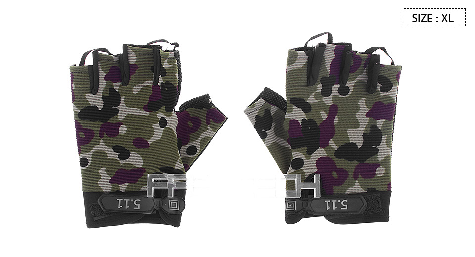 Outdoor Tactical Half Finger Gloves (Size XL) Camouflage, Size XL