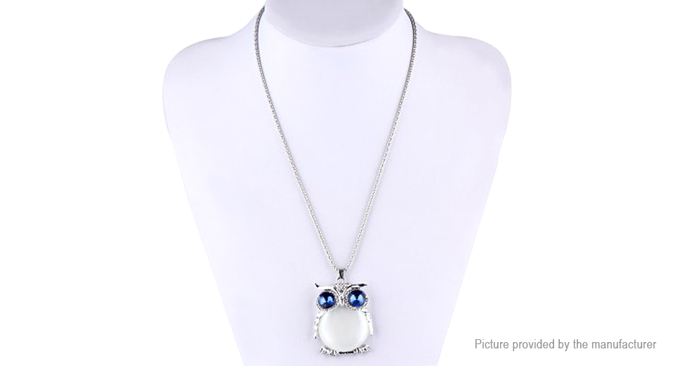 Owl Design Hollow Crystal Long Sweater Pendent Necklace CZ91329, White
