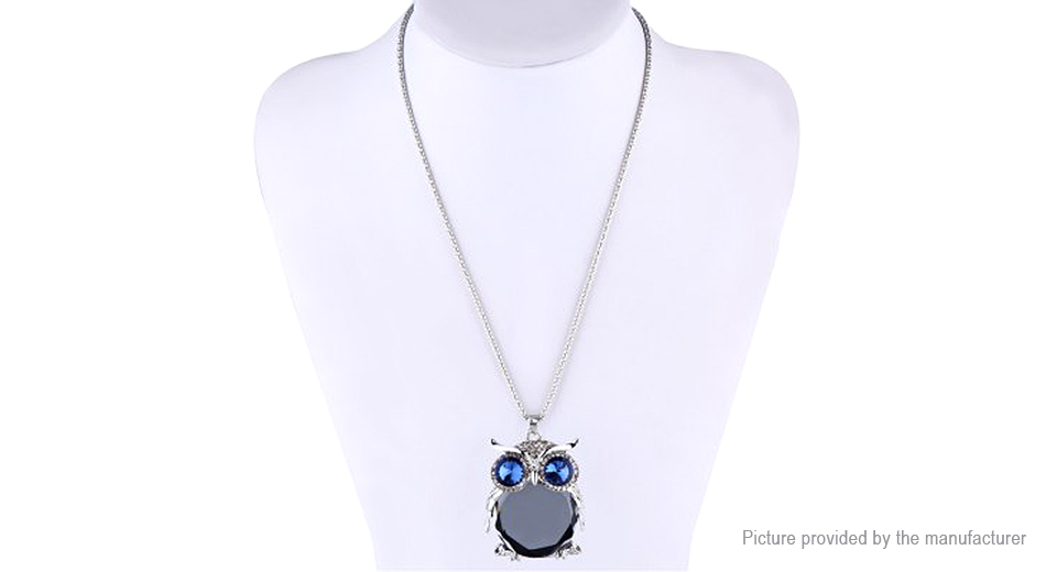 Owl Design Hollow Crystal Long Sweater Pendent Necklace CZ91329, Grey