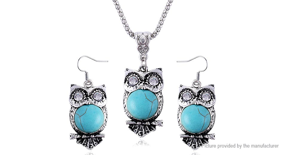 Owl Design Turquoise Pendant Necklace Drop Earrings Set