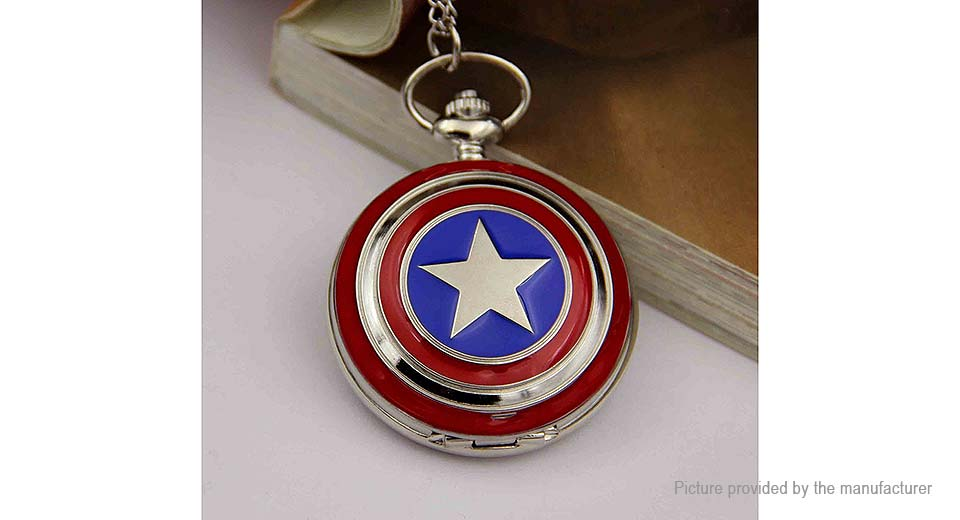 Captain America Shield Styled Alloy Pocket Watch