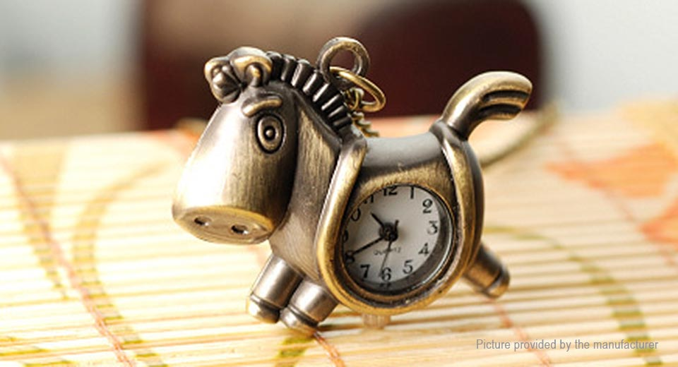 Cute Big Mouth Horse/Trojan Quartz Pocket Watch