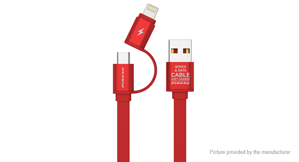 PINENG PN-304 8-pin/Micro-USB USB 2.0 Data Sync / Charging Cable (100cm) PN-304, Red, 100cm