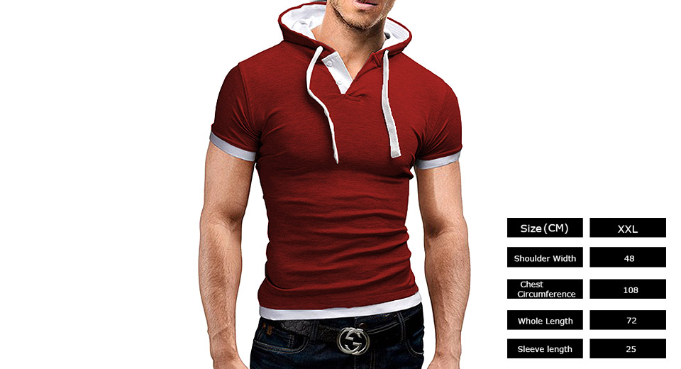 Men's Stitching Color Hooded Casual Short Sleeve T-shirt (Size 2XL) Red, Size 2XL