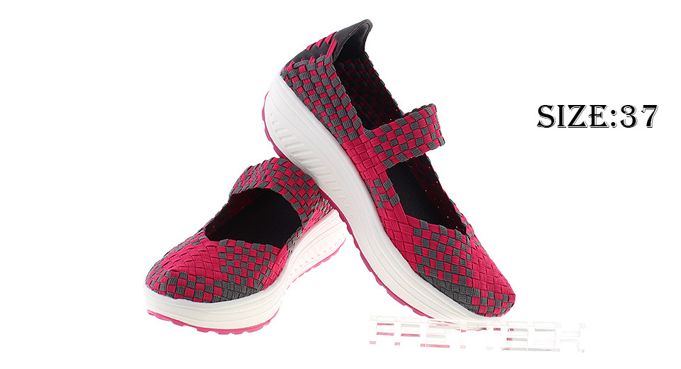 Women's Platform Sandals Woven Slip-on Wedges Walking Shoes (Size 37)