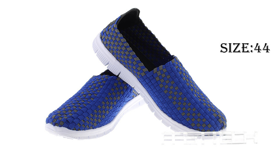 Men's Hand-made Knitted Shoes Outdoor Walking Flats Shoes (Size 44/Blue)