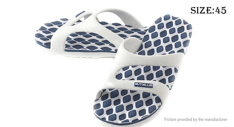 Men's Summer Flip Flops Open Toe Sandals (Size 45/Dark Blue + White Plaid)