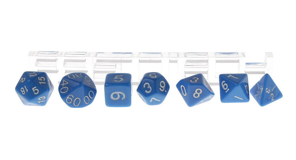 Polyhedral Dice Set for Dungeons & Dragons (7 Pieces), Blue, 7 Pieces