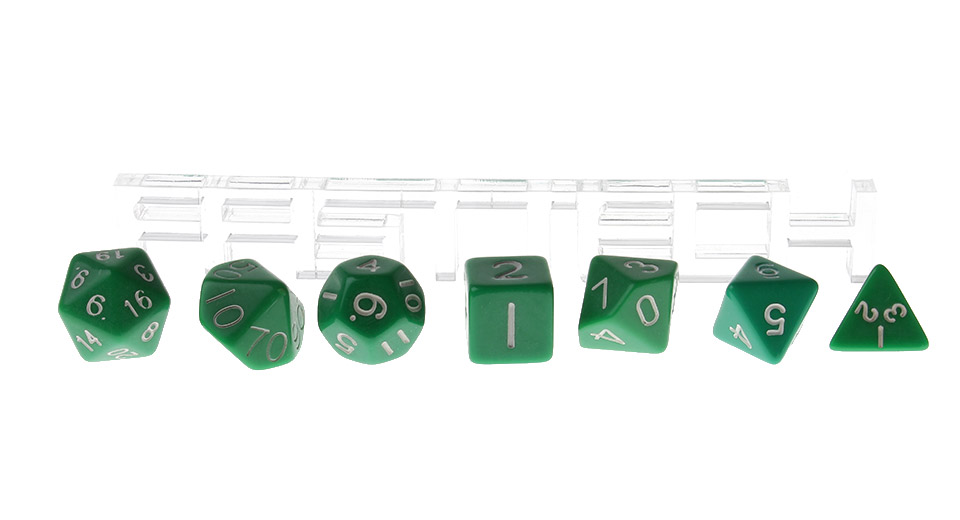 Polyhedral Dice Set for Dungeons & Dragons (7 Pieces), Green, 7 Pieces