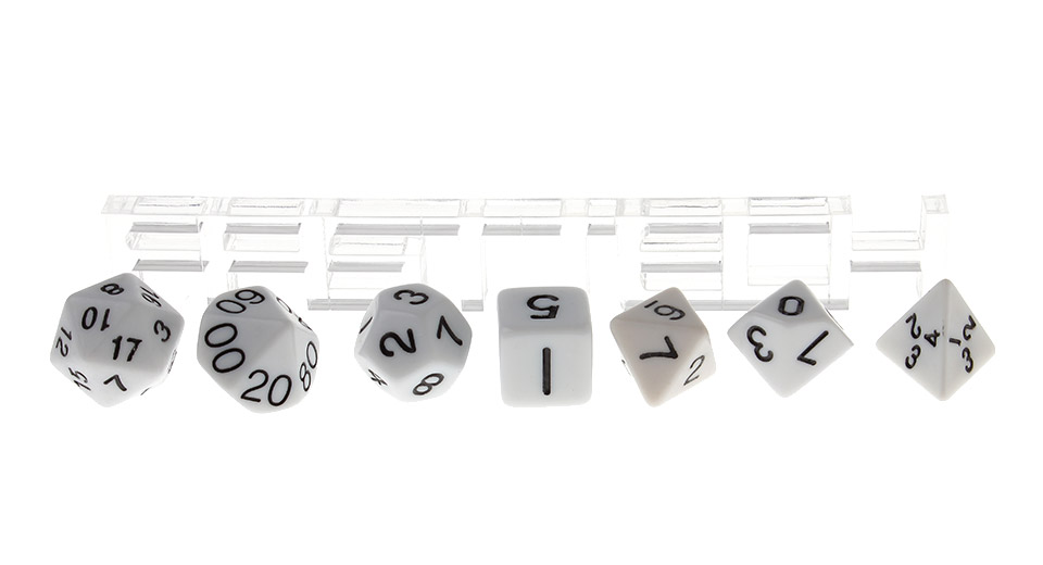 Polyhedral Dice Set for Dungeons & Dragons (7 Pieces), White, 7 Pieces