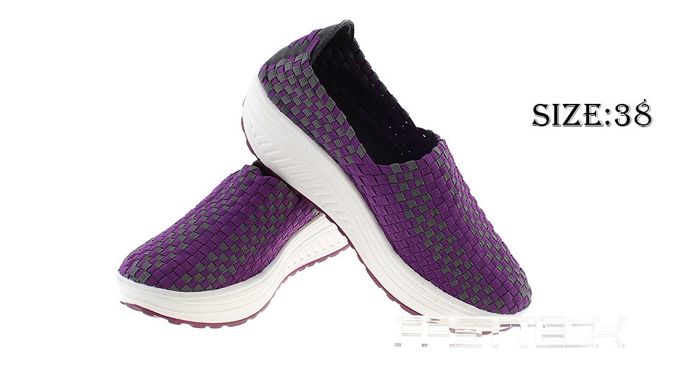 Women's Casual Breathable Knit Shoes Sneakers (Size 38/Purple)