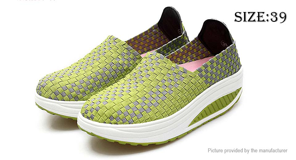 Women's Casual Breathable Knit Shoes Sneakers (Size 39/Green)