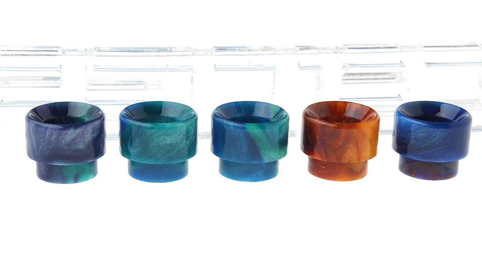 Epoxy Resin Drip Tip for KENNEDY 24 & AV Torpedo Combo RDA Atomizers (5 Pieces) 12.8mm, 5 Pieces, Random Colors