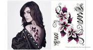 Buy Flowers Styled Temporary Tattoo Body Art Fake Sticker Styled, Black + Rose Red