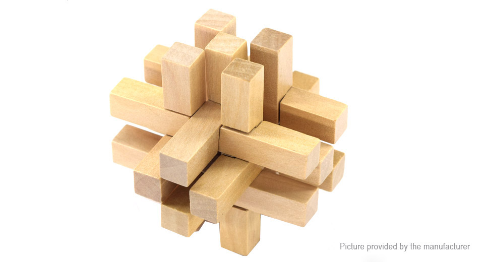 Image of 14-Joint Lock Styled Wooden 3D Unlock Jigsaw Puzzle Toy