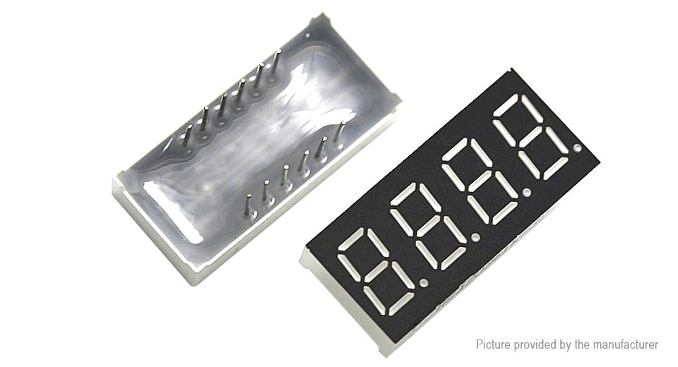 "Image of 0.36"" 12-Pin 4-Digit Common Cathode Numeric LED Display"