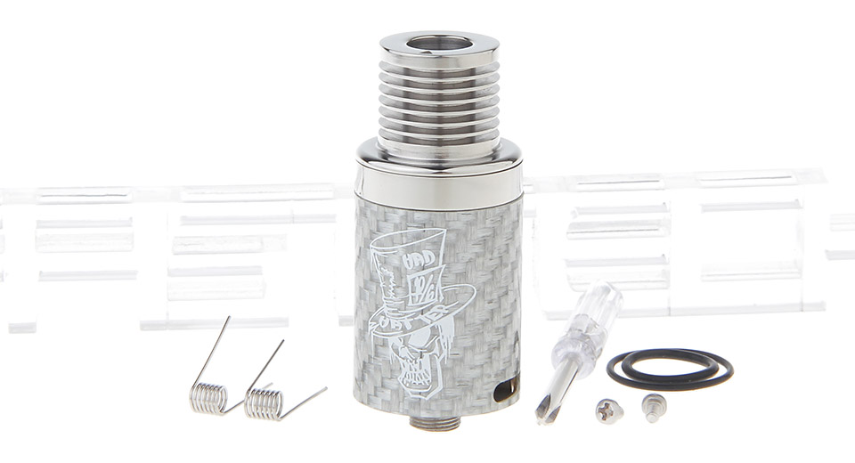 Mad Hatter Styled RDA Rebuildable Dripping Atomizer 22mm, SS + Carbon Fiber, Silver - B