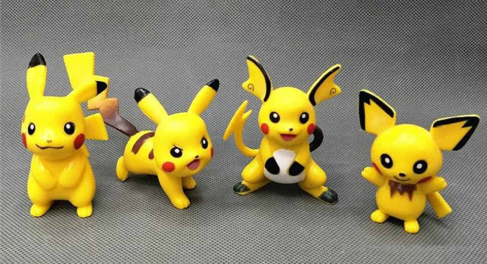Pocket Monster Pika Action Figure Toy Set (4-Piece Set)