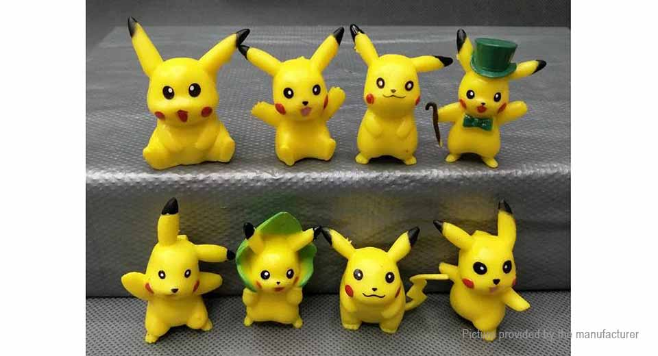 Pocket Monster Pika Action Figure Toy Set (8-Piece Set)