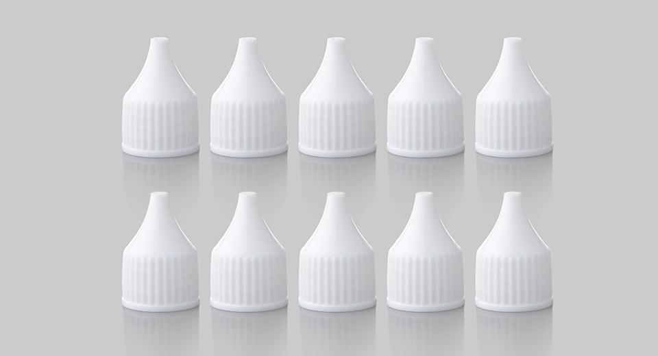 Replacement PE Cap for 30ml/50ml E-Liquid Dropper Bottle (10-Pack) Cap, 30ml/50ml, White, 10-Pack