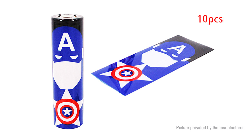 18650 Battery Sleeve PVC Heat Shrinkable Tube Wrap (10-Pack) 18650, 70*30mm, 10-Pack (Captain America Style)