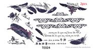 Buy Feather Styled Temporary Tattoo Body Art Fake Sticker (2-Pack), Feather Styled, Black + Purple, 2-Pack for $1.35 in Fasttech store