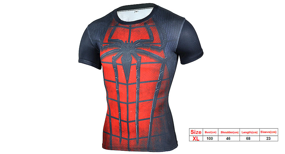 Image of 3D Spider-man Print Men's Sports Quick-dry Short Sleeve T-shirt (Size XL)