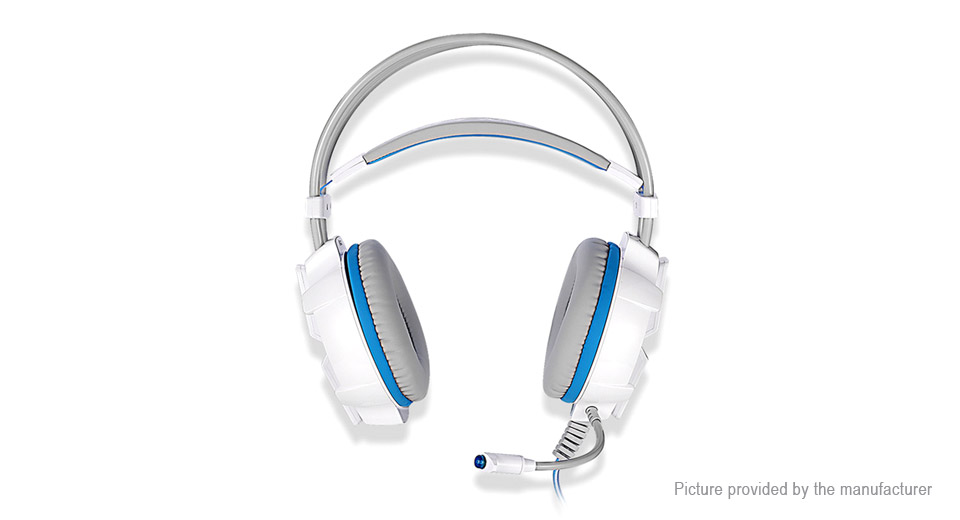 KOTION EACH G7000 7.1 Virtual Surround Sound USB Game Headphone Headset With Mic - White+Blue 365919