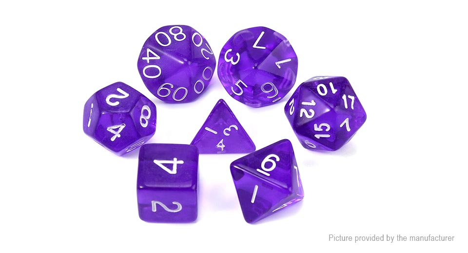 Polyhedral Dice Set for Dungeons & Dragons (7 Pieces) Translucent Purple, 7 Pieces