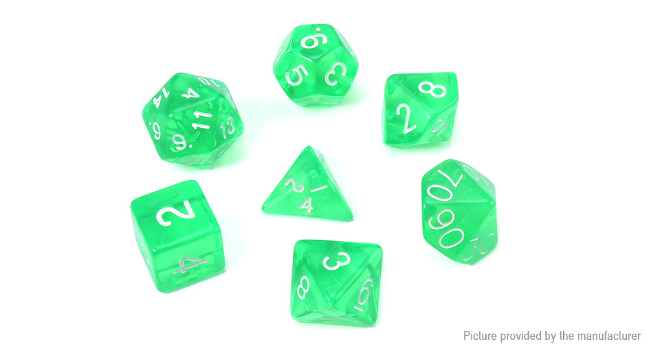 Polyhedral Dice Set for Dungeons & Dragons (7 Pieces), Translucent Green, 7 Pieces