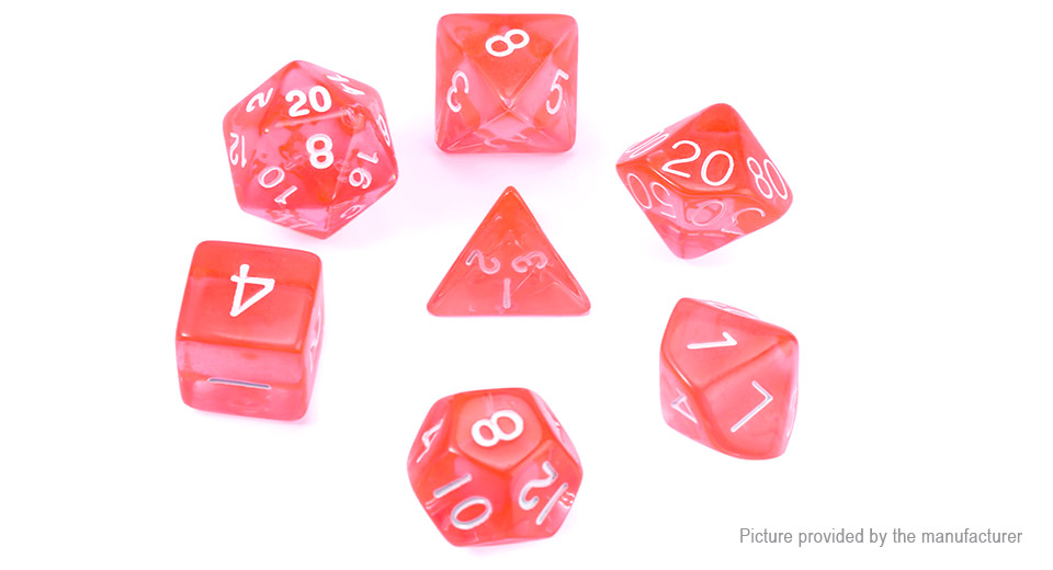Polyhedral Dice Set for Dungeons & Dragons (7 Pieces), Translucent Red, 7 Pieces