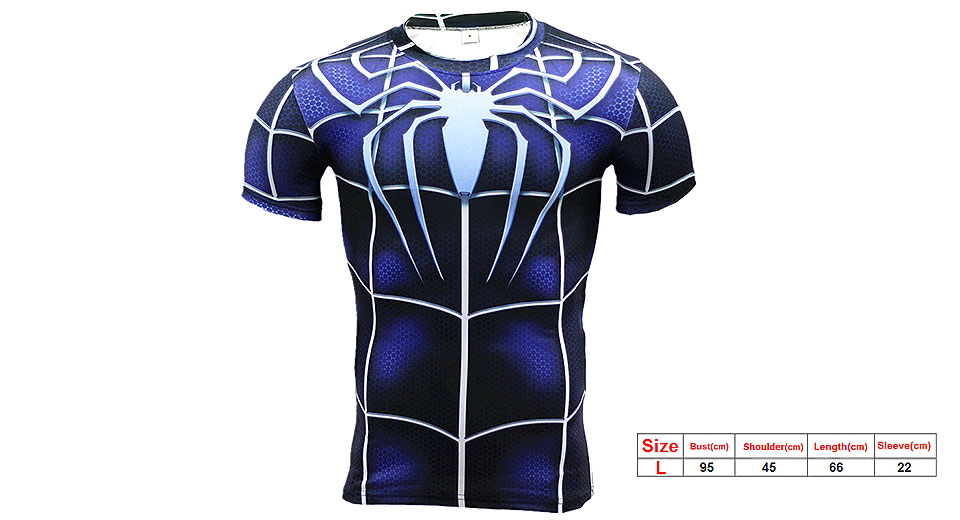 Image of 3D Blue Spider Print Men's Sports Quick-dry Short Sleeve T-shirt (Size L)
