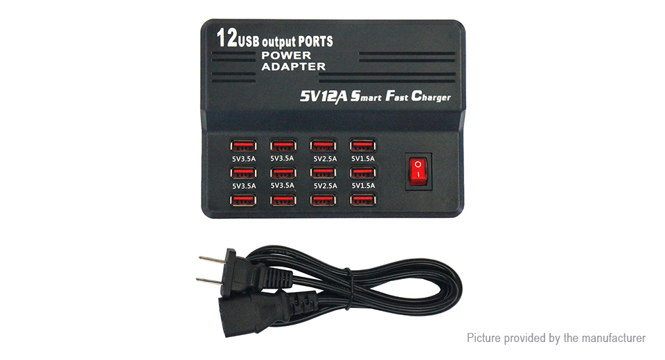 12-Port USB Wall Smart Fast Charger Power Adapter (US)