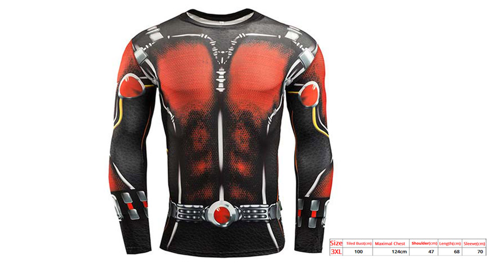 Image of Ant-Man Pattern Men's Sports Quick-dry Long Sleeve T-shirt (Size 3XL)