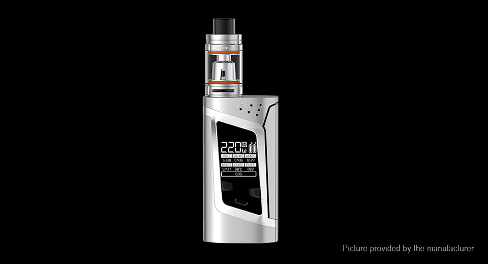 Authentic Smoktech SMOK Alien 220W TC VW APV Box Mod Kit 220W, TFV8 Baby Clearo., Silver