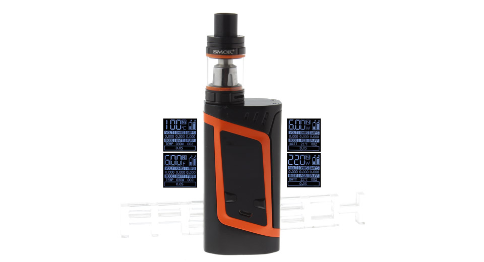 Authentic Smoktech SMOK Alien 220W TC VW APV Box Mod Kit 220W, TFV8 Baby Clearo., Black + Orange