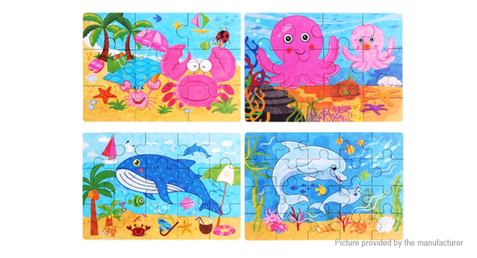 4-in-1 Wooden Cartoon Sea Animal Jigsaw Puzzle Board Educational Toy