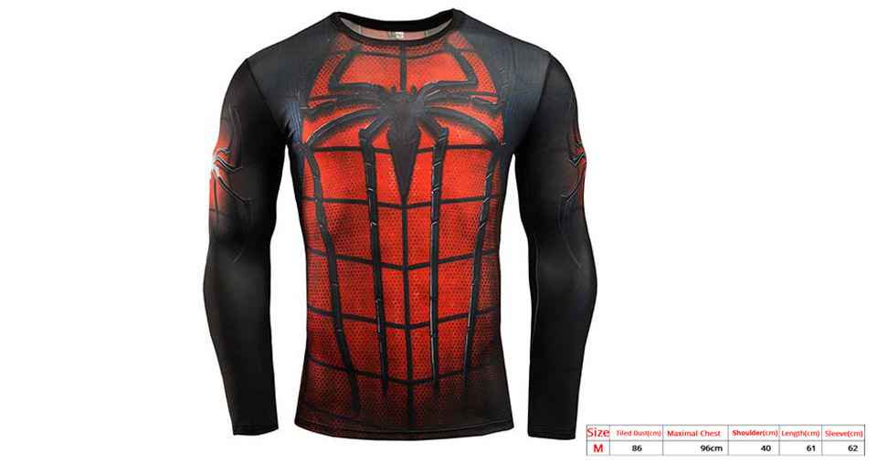 Spider-man Pattern Men's Sports Quick-dry Long Sleeve T-shirt (Size M)