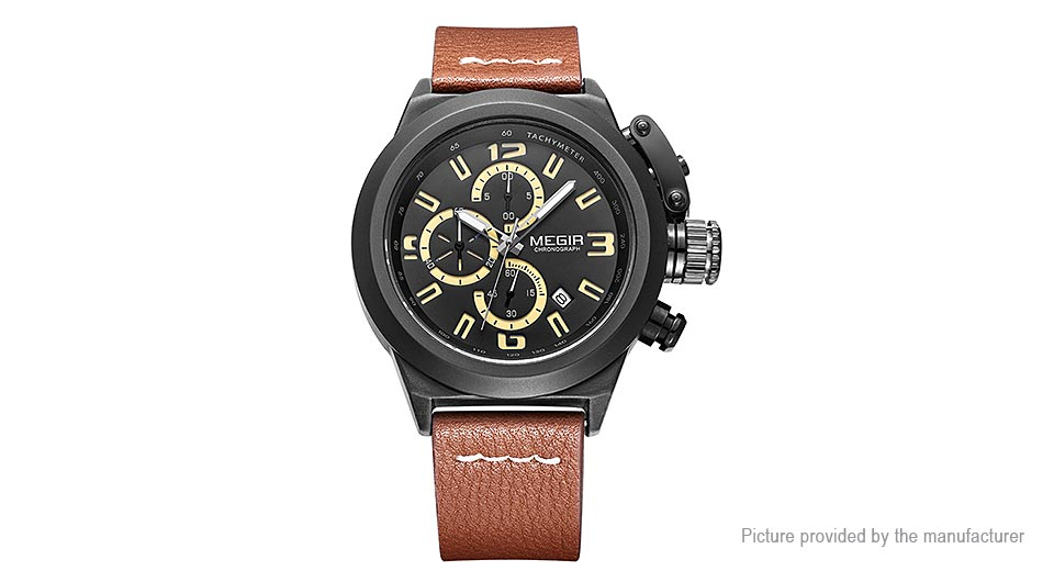 MEGIR 2029 Men's Leather Band Analog Quartz Wrist Watch