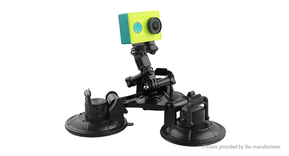 Triple Suction Cup Mount + Tripod Adapter for GoPro / Xiaomi Yi