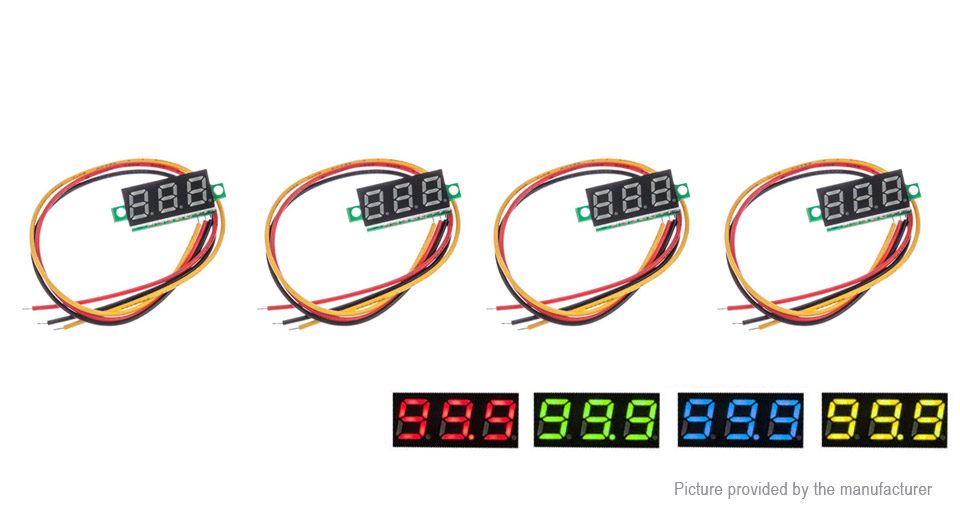 "Image of 0.28"" 3-Digit LED Voltmeter Module (4 Pieces)"