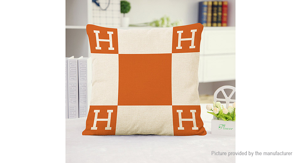 Character H Pattern Square Decorative Throw Pillowcase